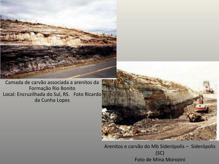 Camada de carvão associada a arenitos da Formação Rio Bonito