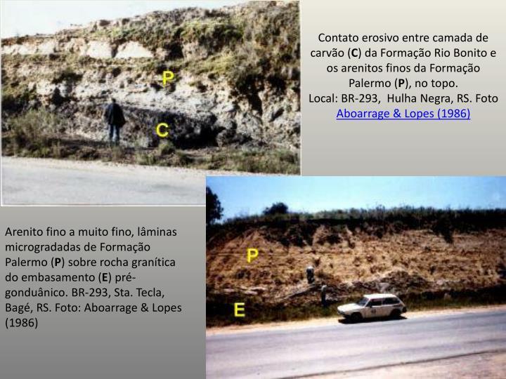Contato erosivo entre camada de carvão (