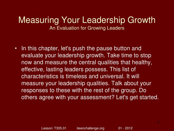 Measuring your leadership growth an evaluation for growing leaders1