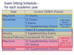 exam sitting schedule for each academic year