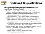 ejections disqualifications