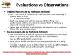evaluations vs observations