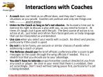 interactions with coaches
