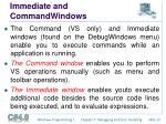 immediate and commandwindows