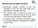 monitoring variable content