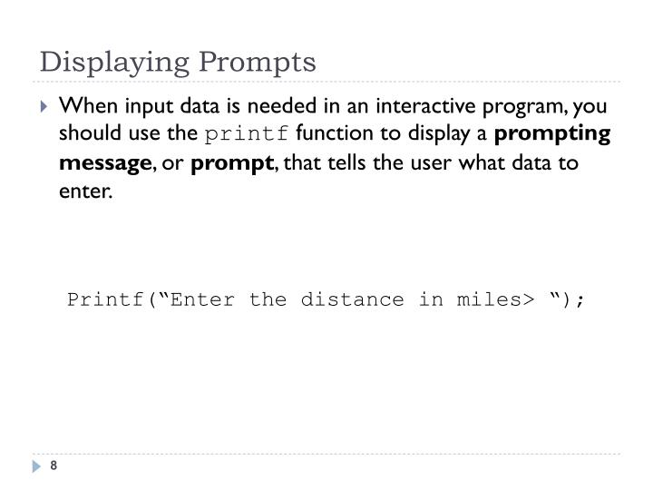 Displaying Prompts