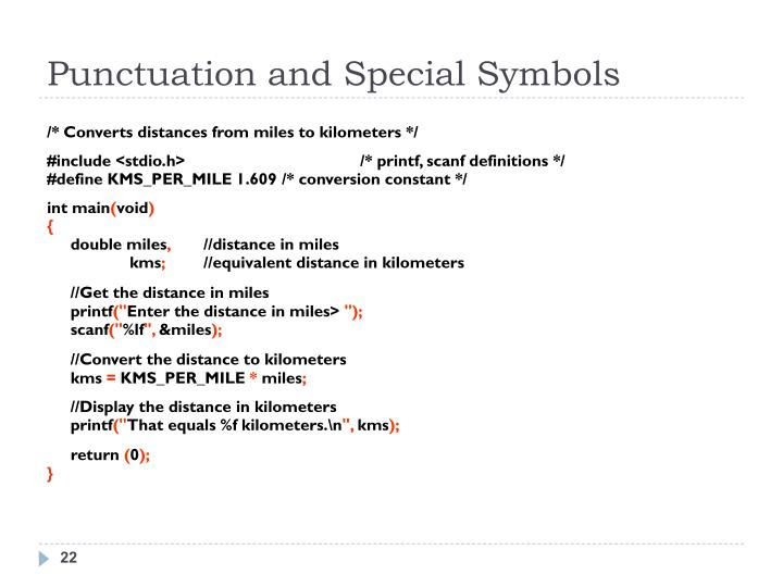 Punctuation and Special Symbols