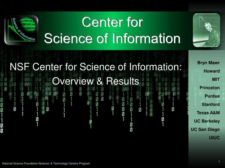 center for science of information n.