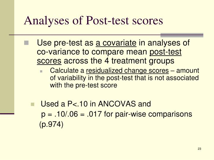 Analyses of Post-test scores