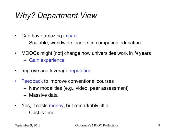 Why? Department View
