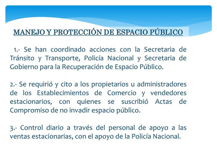 MANEJO Y PROTECCIÓN DE ESPACIO PÚBLICO