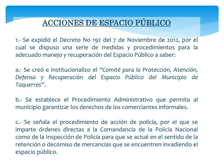 ACCIONES DE ESPACIO PÚBLICO