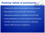 masking safety of participants