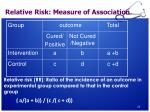 relative risk measure of association