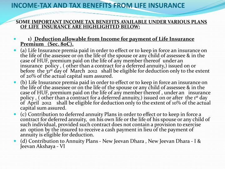 PPT - INCOME-TAX AND TAX BENEFITS FROM LIFE INSURANCE ...