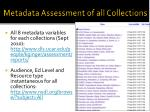 metadata assessment of all collections