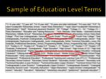 sample of education level terms