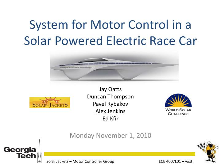 system for motor control in a solar powered electric race car n.