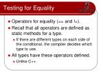 testing for equality1