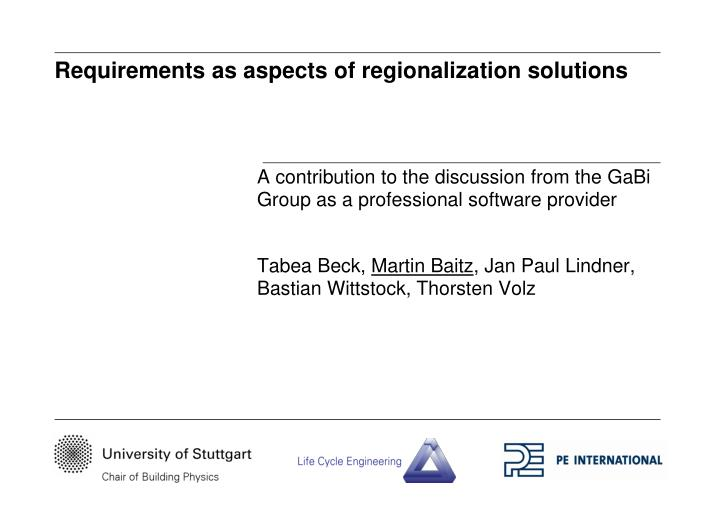 requirements as aspects of regionalization solutions n.