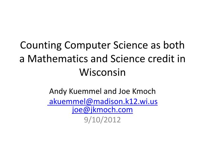 counting computer science as both a mathematics and science credit in wisconsin n.