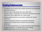 creating subdocuments