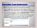 step by step create subdocuments