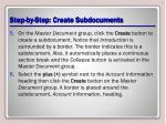 step by step create subdocuments2