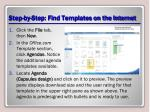 step by step find templates on the internet