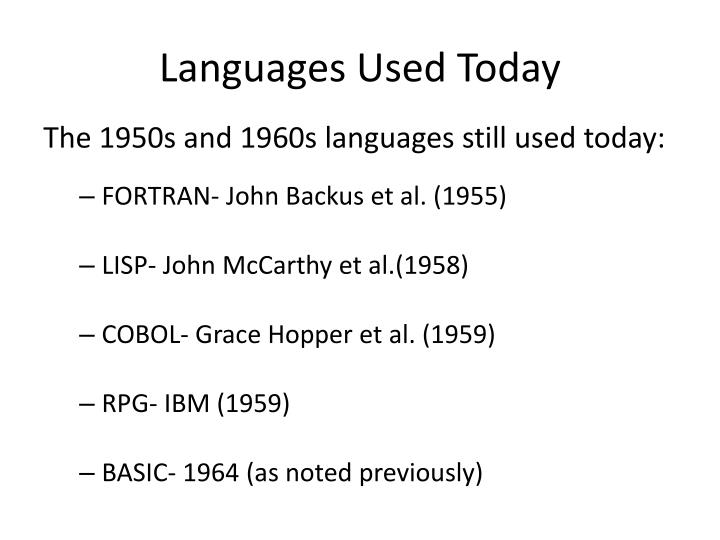 Languages Used Today