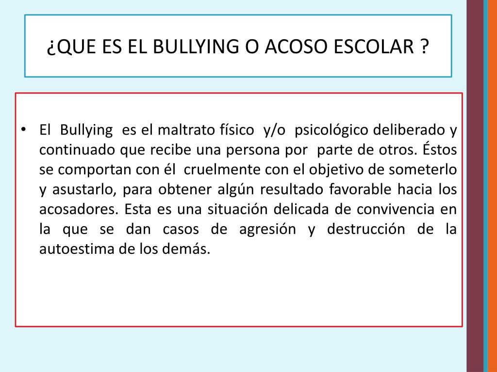 PPT - Bullying o Acoso Escolar PowerPoint Presentation - ID
