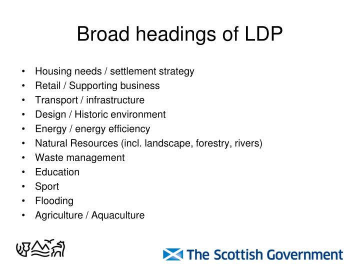 Broad headings of LDP