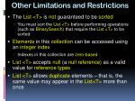 other limitations and restrictions