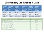calorimetry lab groups data