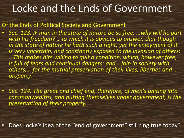 Locke and the Ends of Government