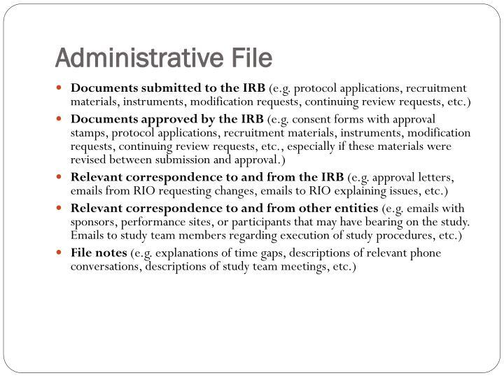 Administrative File