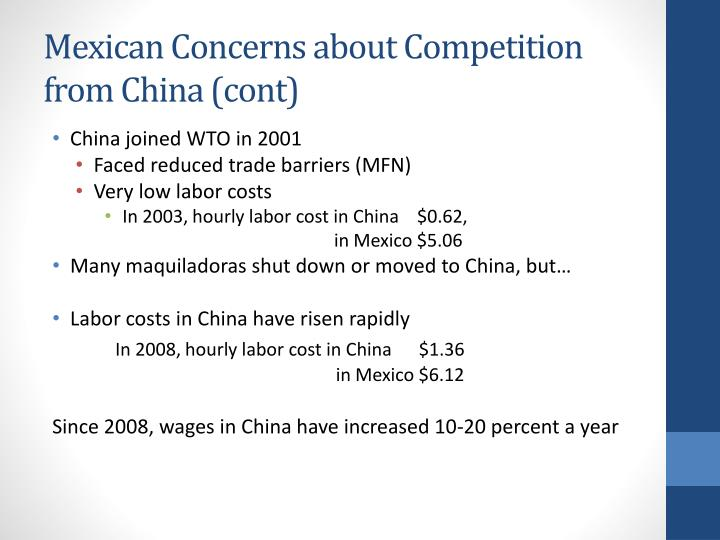 Mexican Concerns about Competition from China (cont)