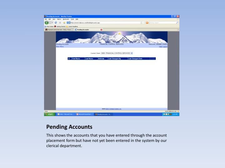 Pending Accounts