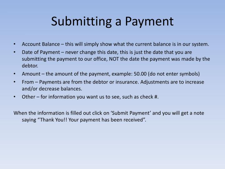 Submitting a Payment