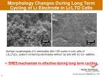 morphology changes during long term cycling of li electrode in li lto cells