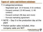 types of sales and delivery windows