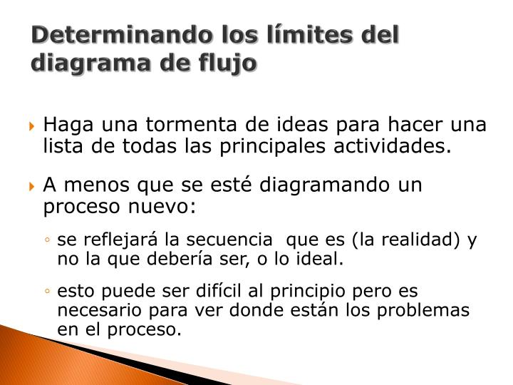 Determinando los límites del diagrama de flujo