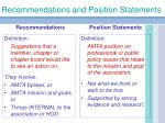 recommendations and position statements