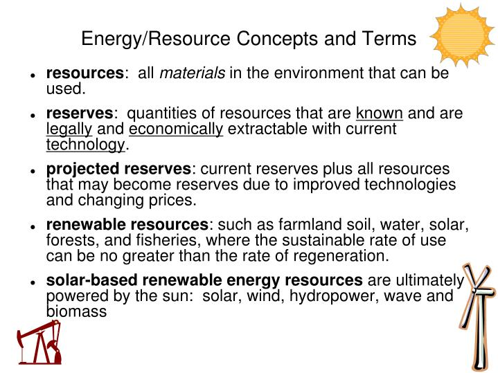 energy resource concepts and terms n.