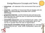 energy resource concepts and terms