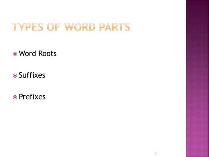 Types of Word Parts