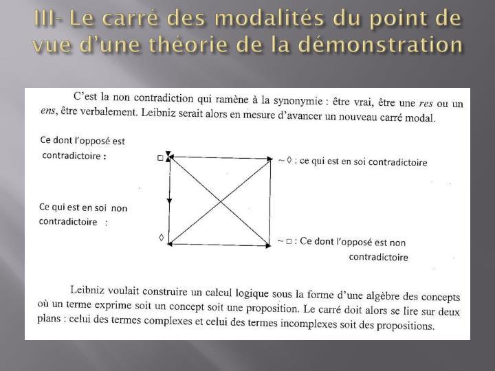 III- Le carré des modalités du point de vue d'une théorie de la démonstration