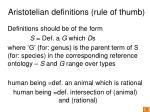 aristotelian definitions rule of thumb