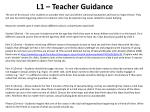 l1 teacher guidance