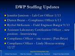 dwp staffing updates